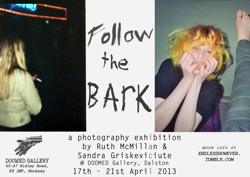 Ruth McMillan and Sandra Griskeviciute - Follow the Bark exhibition at Doomed Gallery